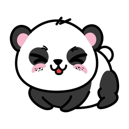 Lokalisiertes nettes Pandabärnikonenvektor-Illustrationsgrafikdesign Standard-Bild - 82825511