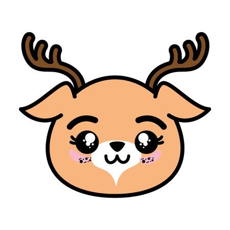 격리 된 귀여운 사슴 얼굴 아이콘 벡터 일러스트 그래픽 디자인