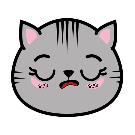 isolated cute cat face icon vector illustration graphic design
