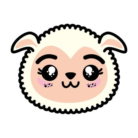 分離のかわいい羊の顔アイコン イラスト グラフィック デザイン。