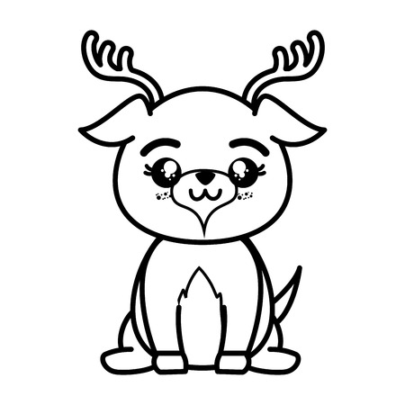 isolated cute standing deer icon vector illustration graphic design Ilustracja