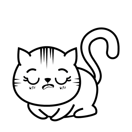isolated cute tired cat icon vector illustration graphic design Ilustração
