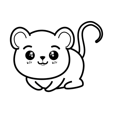 分離のかわいいマウス アイコン ベクトル イラスト グラフィック デザイン  イラスト・ベクター素材