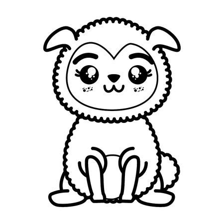 geïsoleerde schattige staande schaap pictogram vector illustratie grafisch ontwerp