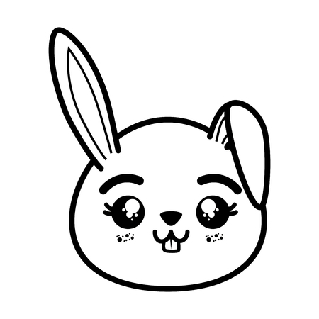 isolated cute rabbit face icon vector illustration graphic design Illustration