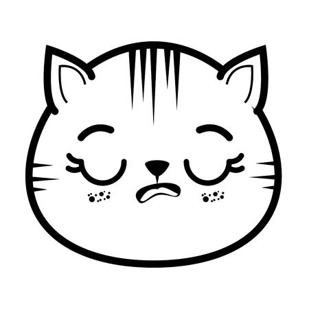 geïsoleerde schattige kat gezicht pictogram vector illustratie grafisch ontwerp Stock Illustratie