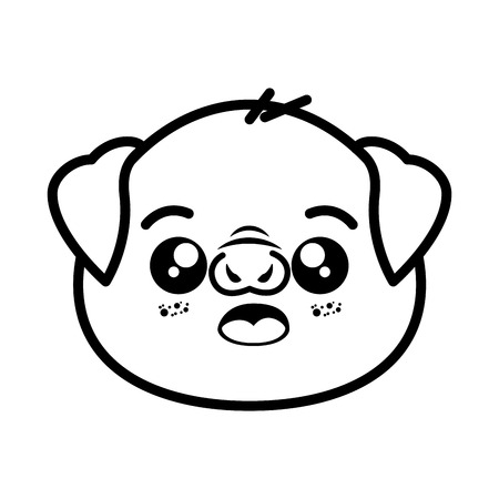 opened eye: isolated cute pig face icon vector illustration graphic design