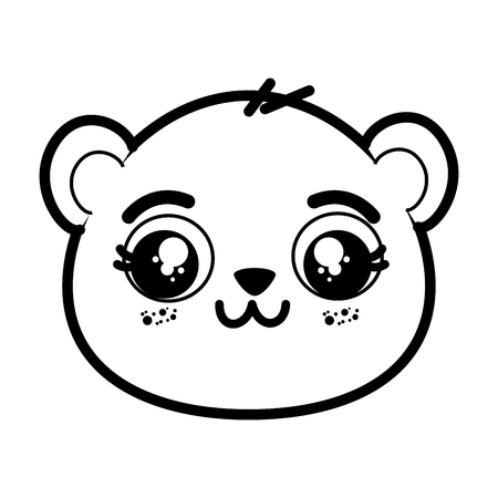 Niedlichen Panda Bär Gesicht Symbol Vektor-Illustration Grafik-Design Standard-Bild - 82825480