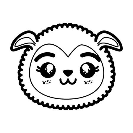 격리 된 귀여운 양 얼굴 아이콘 벡터 일러스트 그래픽 디자인