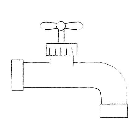 격리 된 물 수도 꼭지 아이콘 벡터 일러스트 그래픽 디자인