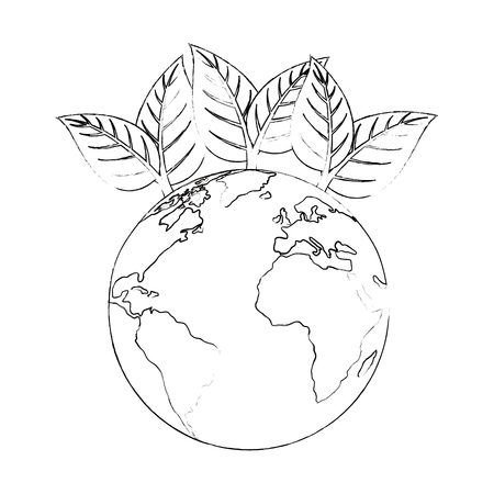 isolated sheet tree earth panet icon vector illustration graphic design Banco de Imagens