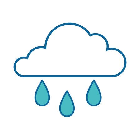 격리 된 비 구름 아이콘 벡터 일러스트 그래픽 디자인