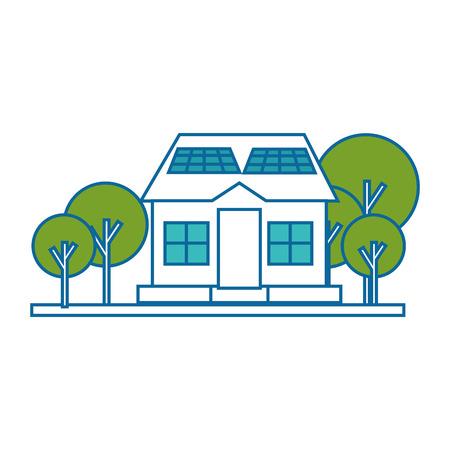 ortseingangsschild: isolierte Solar-Panel-Haus-Symbol Vektor-Illustration-Grafik-Design