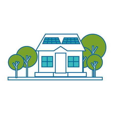 isolated solar panel house icon vector illustration graphic design Illustration