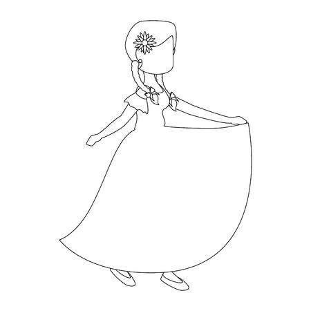 isolated peasant woman dancing icon vector illustration graphic design Ilustração