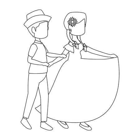 isolated peasants couple dancing icon vector illustration graphic design Vektoros illusztráció