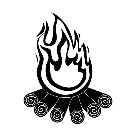 Geïsoleerde hout vuur pictogram vector illustratie grafisch ontwerp