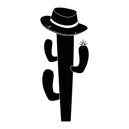 격리 된 선인장 모자 아이콘 벡터 일러스트 그래픽 디자인