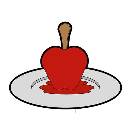 分離のカラメルりんごのアイコン ベクトル イラスト グラフィック デザイン  イラスト・ベクター素材