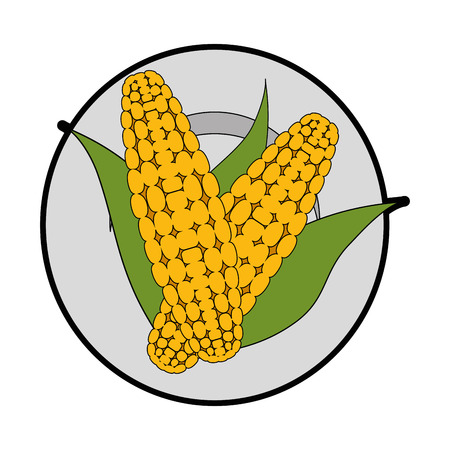 isolated two corn symbol icon vector illustration graphic design Çizim