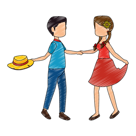 hick: isolated peasants couple dancing icon vector illustration graphic design