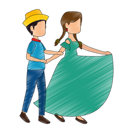 isolated peasants couple dancing icon vector illustration graphic design