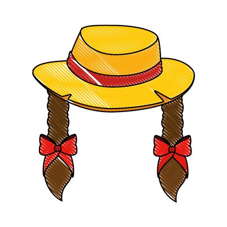 Braid haar hoed pictogram Stock Illustratie