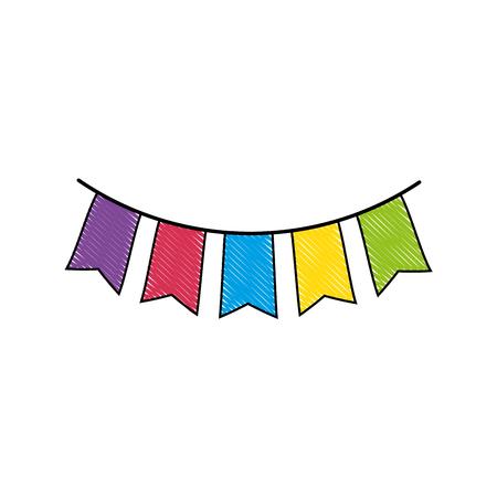 절연 귀여운 파티 플래그 아이콘 벡터 일러스트 그래픽 디자인