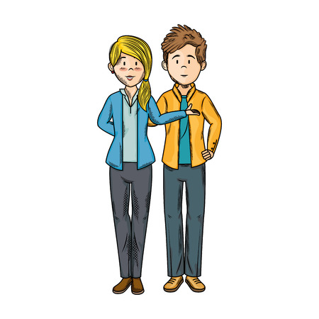 blondie: isolated young couple icon vector illustration graphic design