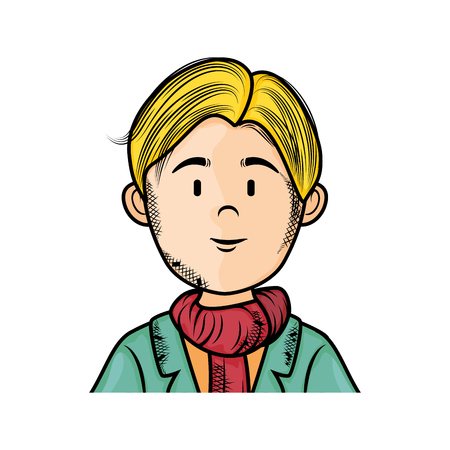 blondie: isolated upperbody young man icon vector illustration graphic design