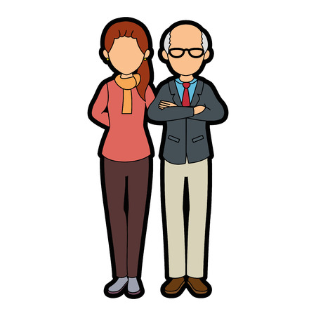 isolated grandparents couple icon vector illustration graphic design