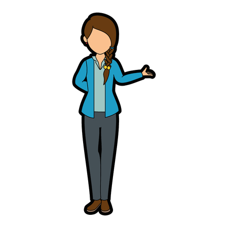 isolated standing young woman icon vector illustration graphic design