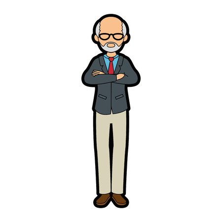 isolated standing old man icon vector illustration graphic design