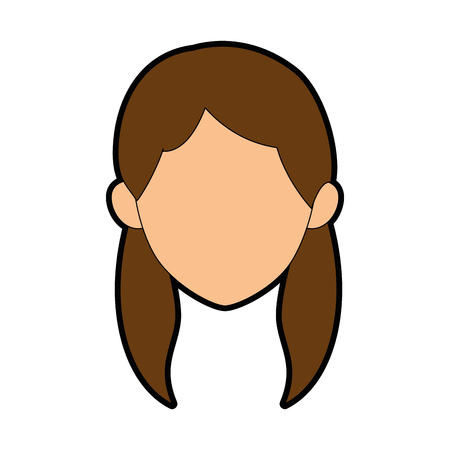 isolated young woman face icon vector illustration graphic design