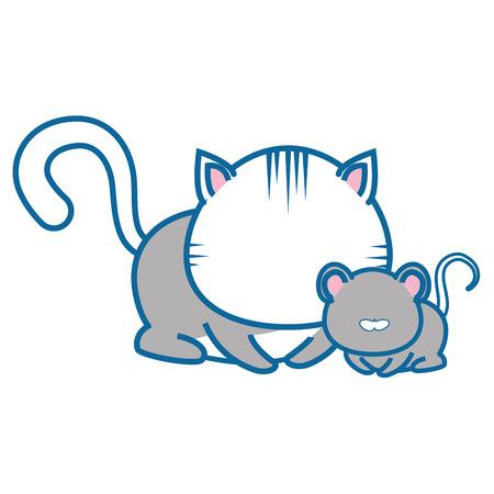 geïsoleerde kat en muis pictogram vector illustratie grafisch ontwerp