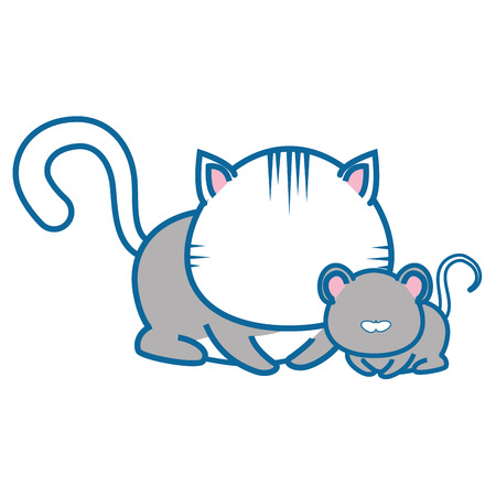 isolated cat and mouse icon vector illustration graphic design