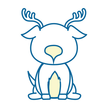 isolated cute standing deer icon vector illustration graphic design Иллюстрация