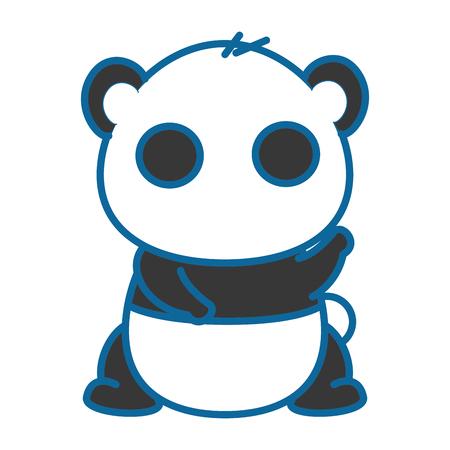 절연 귀여운 팬더 곰 아이콘 벡터 일러스트 그래픽 디자인