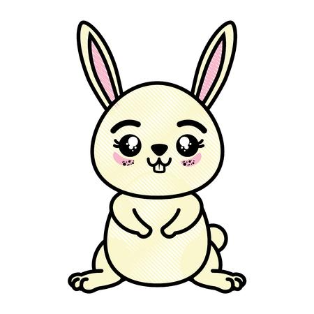 isolated cute standing rabbit icon vector illustration graphic design Illusztráció
