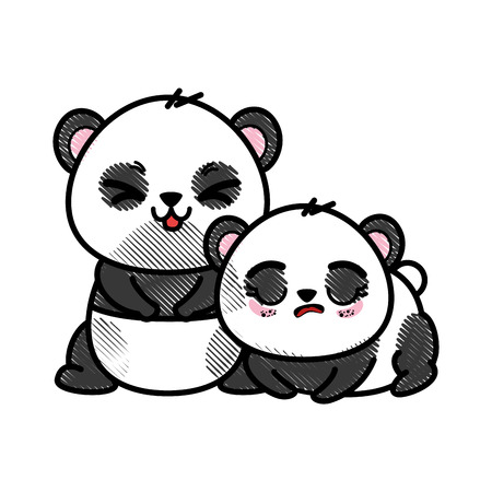 かわいい 2 頭のパンダ アイコン ベクトル イラスト グラフィック デザインを分離