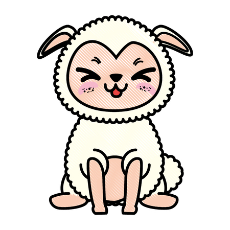 isolated cute standing sheep icon vector illustration graphic design Banco de Imagens - 82951137