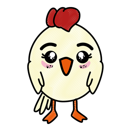 isolated cute standing chicken icon vector illustration graphic design