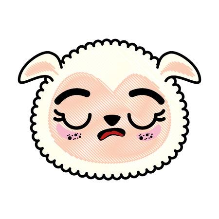 分離のかわいい羊の顔アイコン ベクトル イラスト グラフィック デザイン