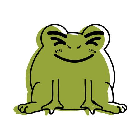 절연 귀여운 서 두꺼비 아이콘 벡터 일러스트 그래픽 디자인 절연