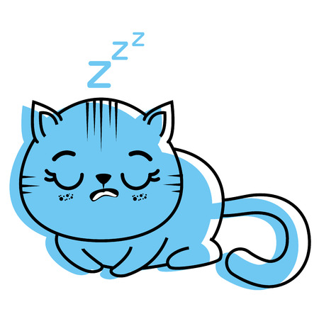 isolated cute cat sleeping icon vector illustration graphic design Illustration