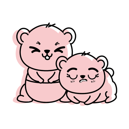 isolated cute two panda bears icon vector illustration graphic design