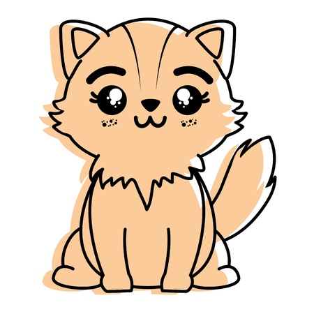 isolated cute standing fox icon vector illustration graphic design