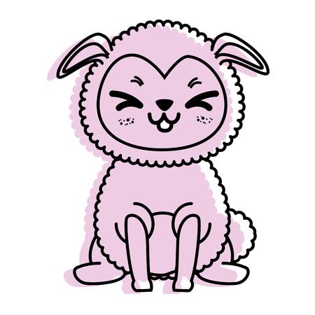 孤立したかわいい立っている羊のアイコン ベクトル イラスト グラフィック デザイン