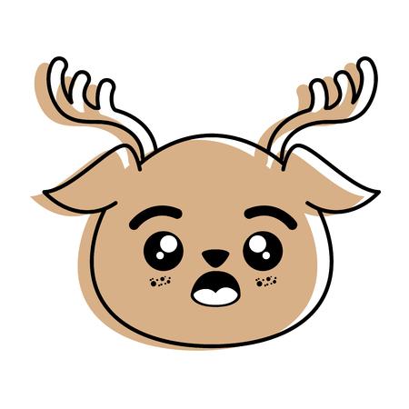 分離かわいい鹿の顔のアイコン ベクトル イラスト グラフィック デザイン