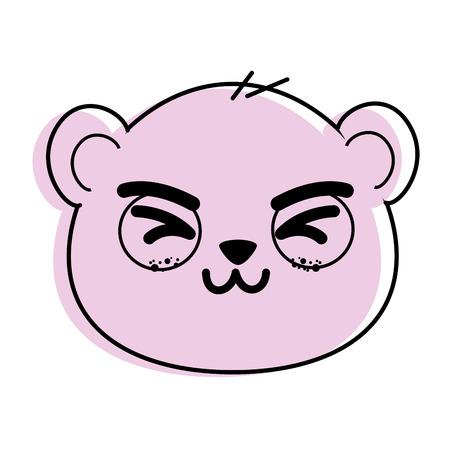 cute panda bear face icon vector illustration graphic design